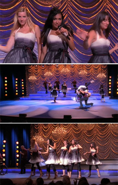 Santana sings lead at competition while The New Directions sing and dance back up