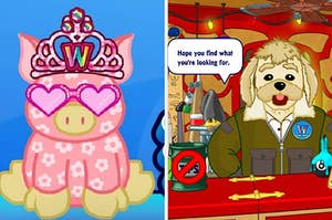 """On the left, a pink, floral pig Webkinz wears heart-shaped sunglasses a webkinz crown, and on the right, Arte from the curio shop has a speech bubble that says """"Hope you find what you're looking for"""""""