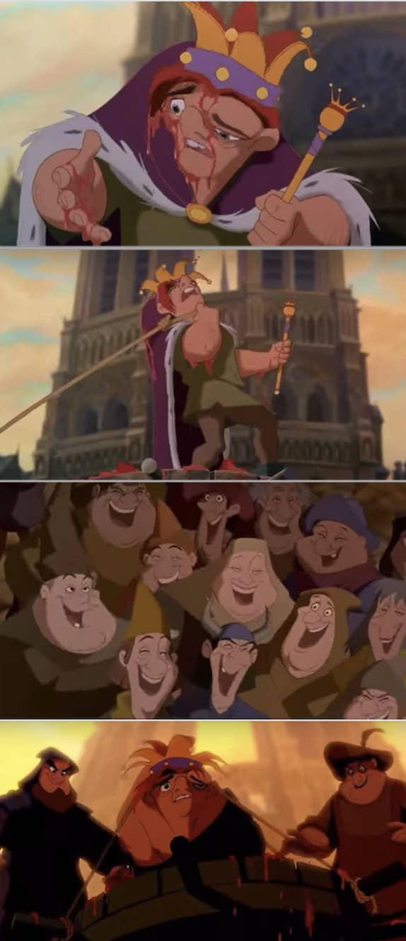 13. In The Hunchback of Notre Dame, there was a lot of emphasis on religious corruption, fear of people who are different, and the need to be open-minded and compassionate. People bullied Quasimodo just for the reason that he was different.