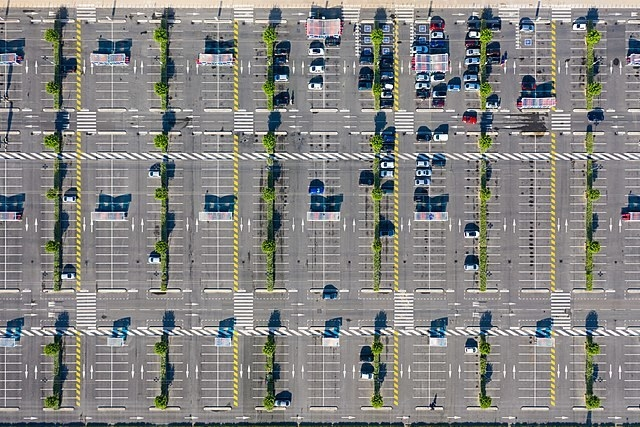 A large parking lot.