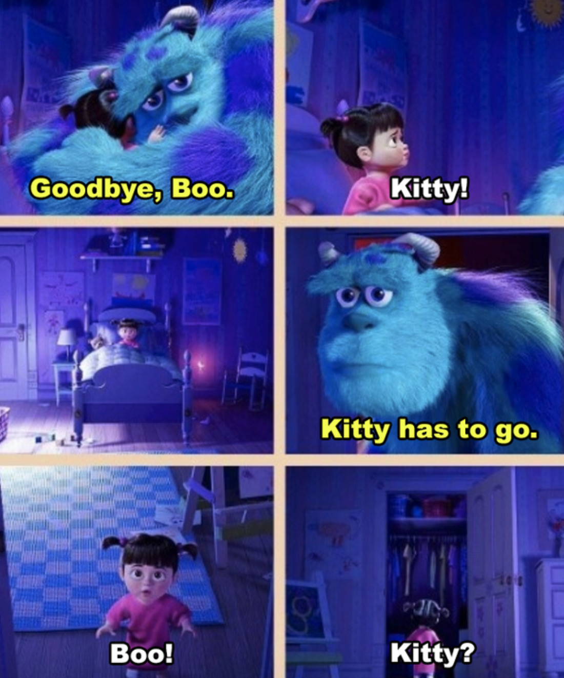 Sulley hugging Boo in her room and then exiting through her closet door