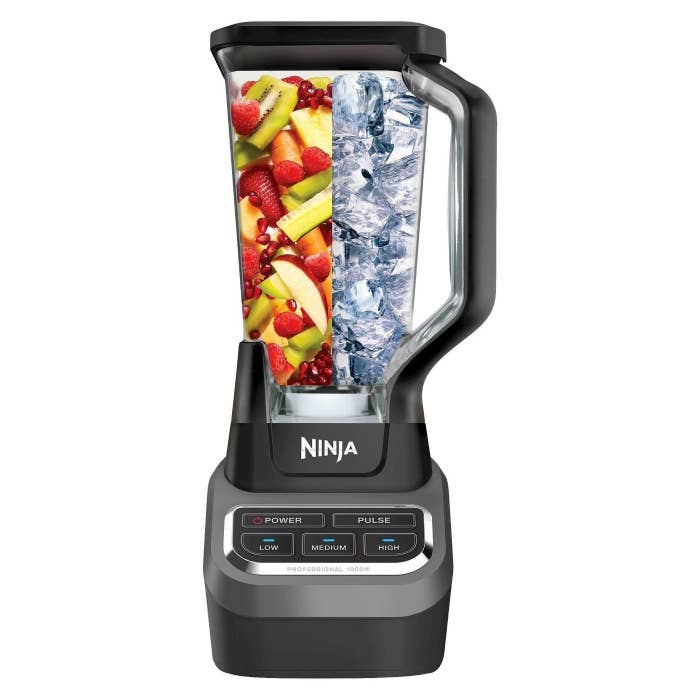 a black ninja blender with silver accents
