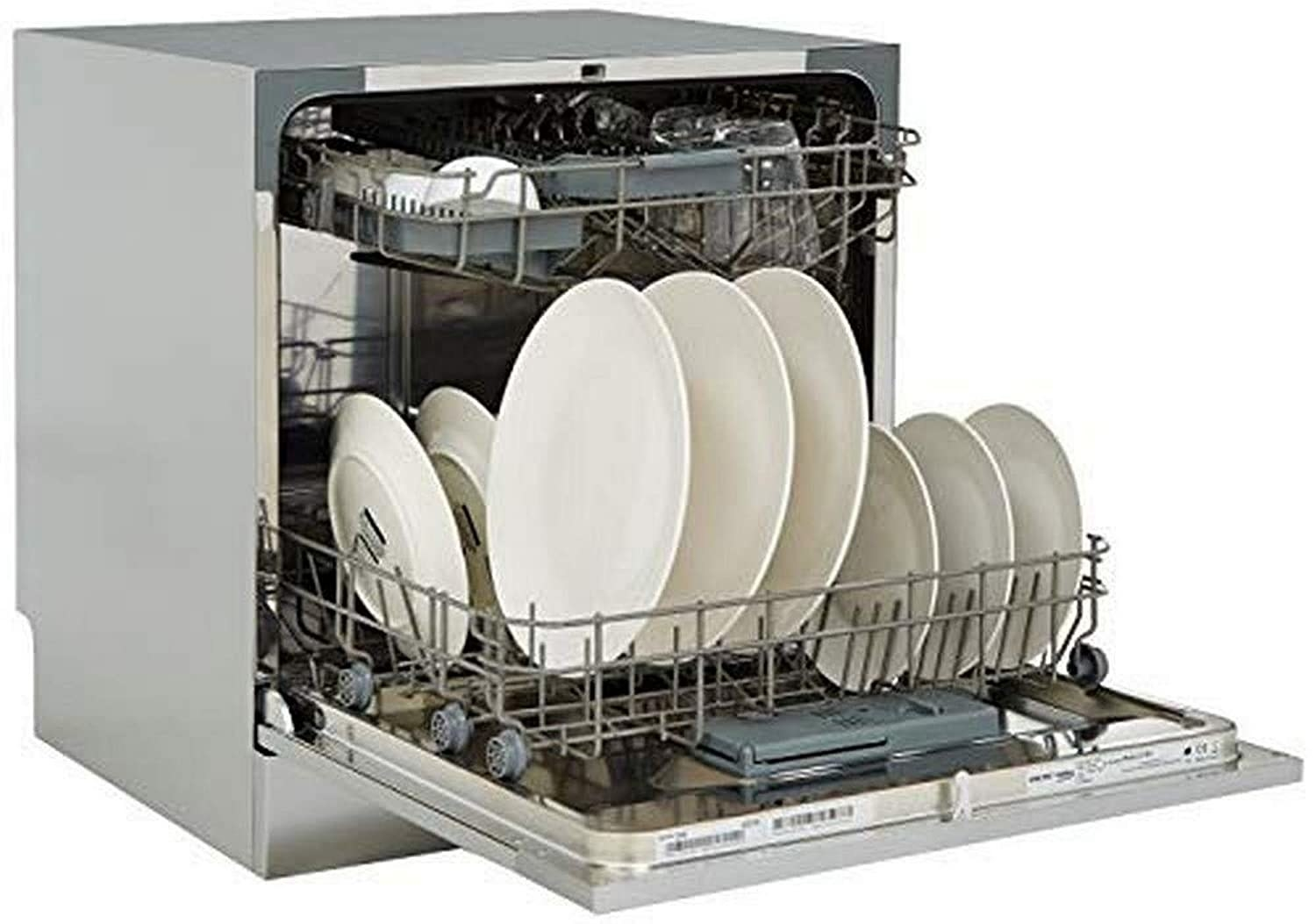 An open dishwasher in silver with multiple dishes inside it.