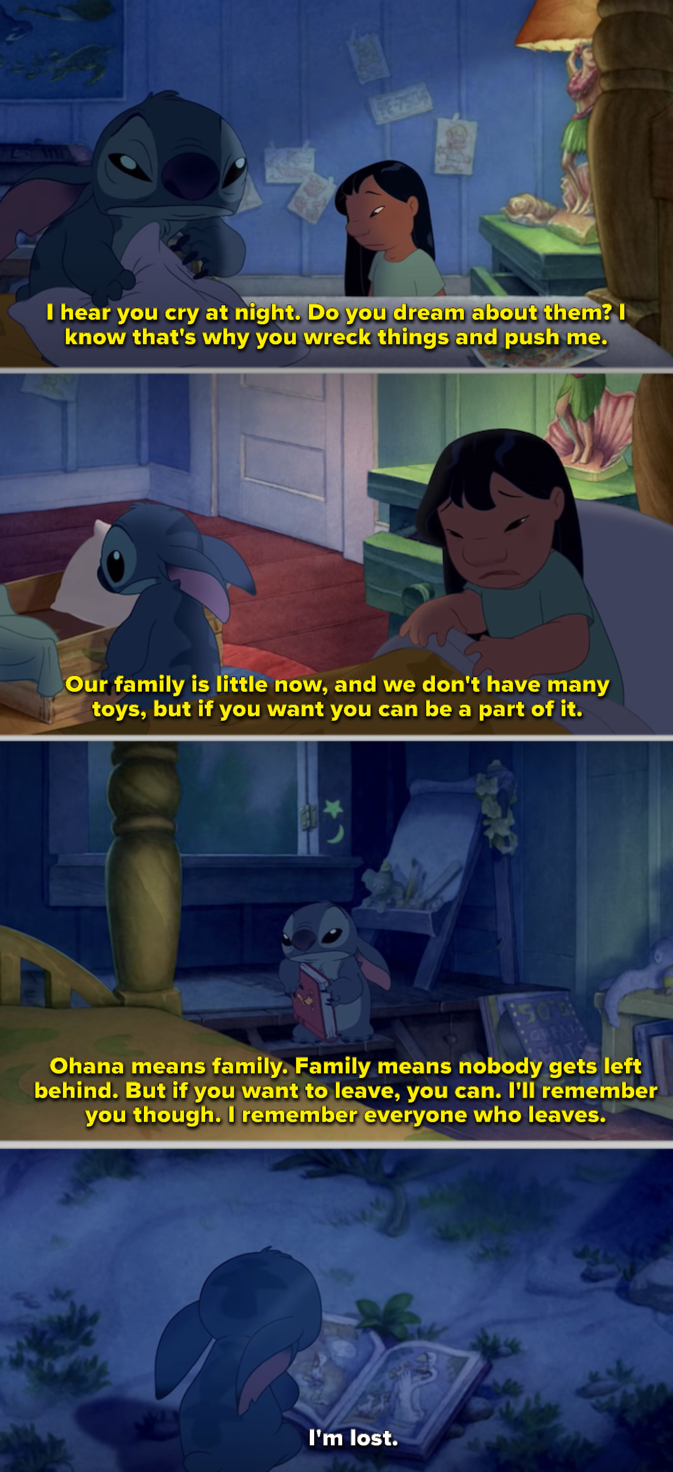 Lilo talking to Stitch in her room