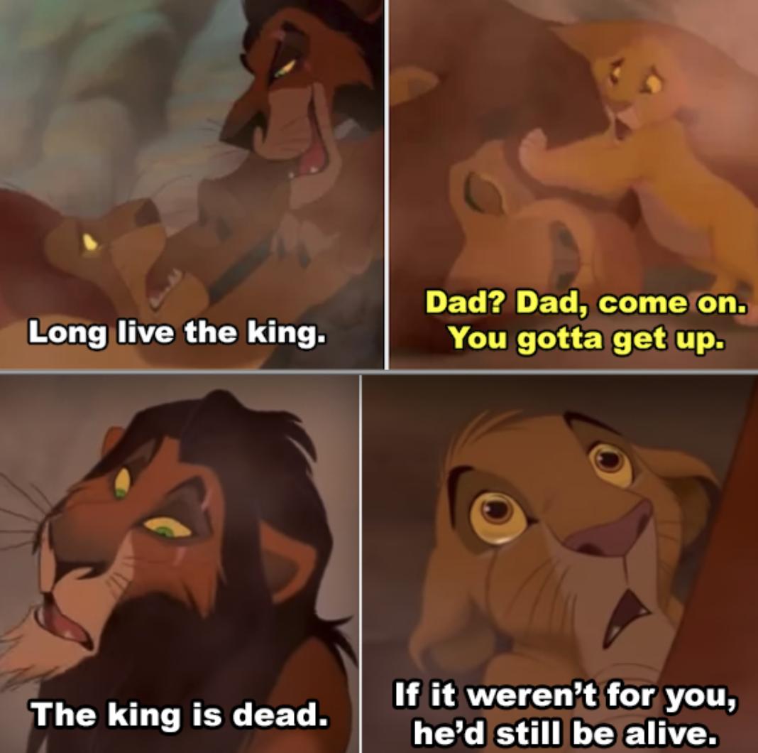 Simba trying to wake up Mufasa's lifeless body