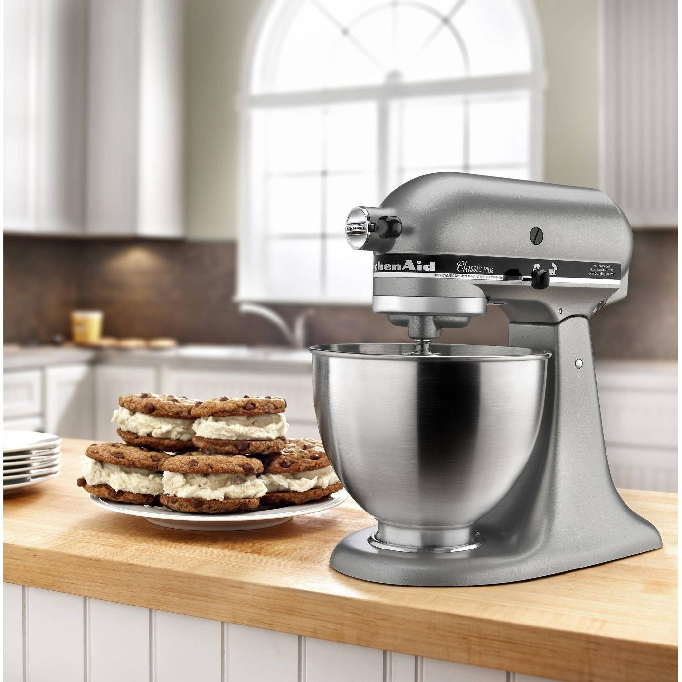 a kitchen aid mixer in stainless steel