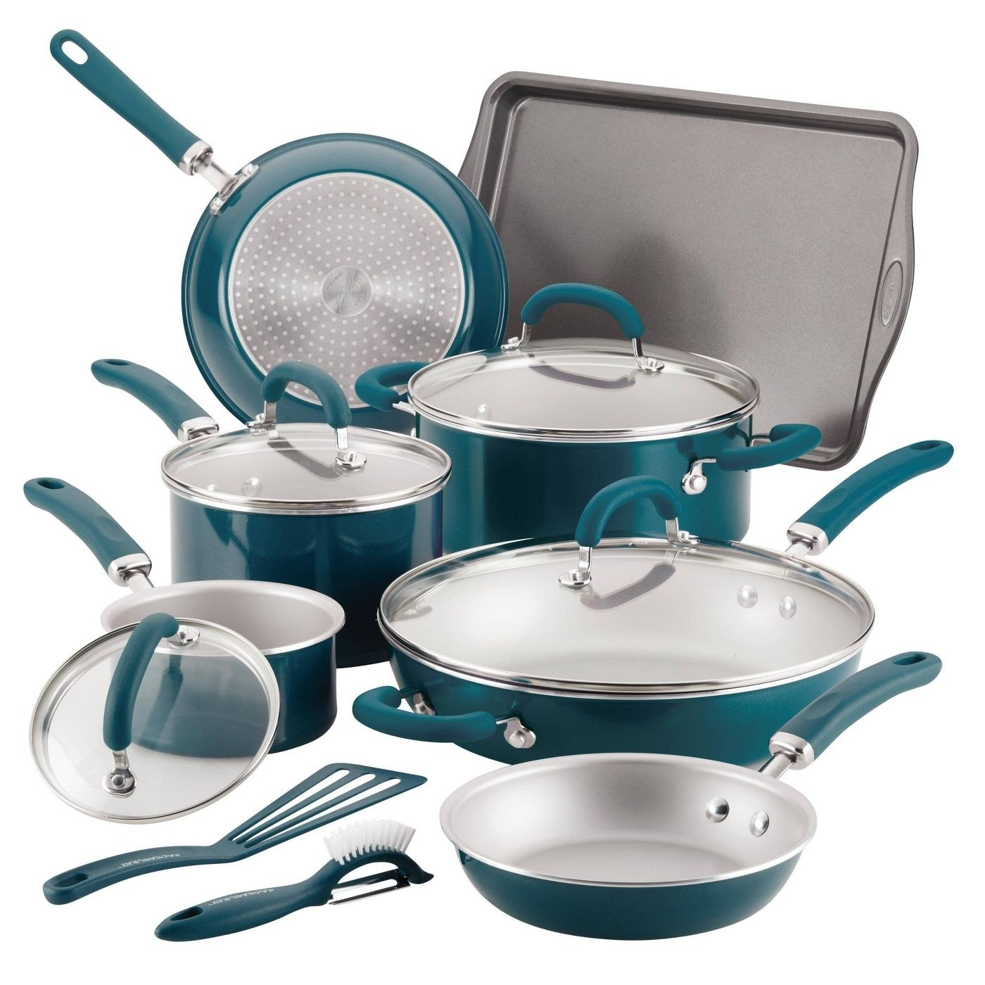 six different pots and pants in a turquoise blue color