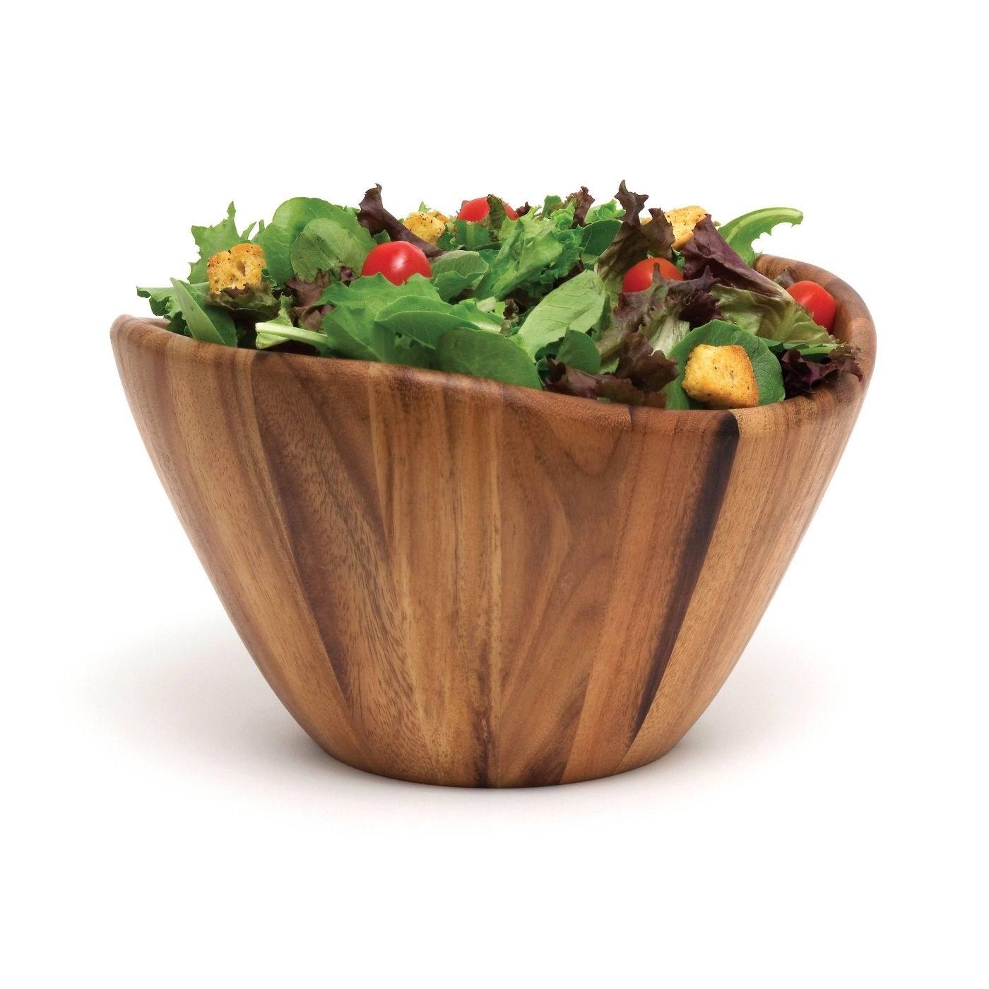 a deep wooden bowl