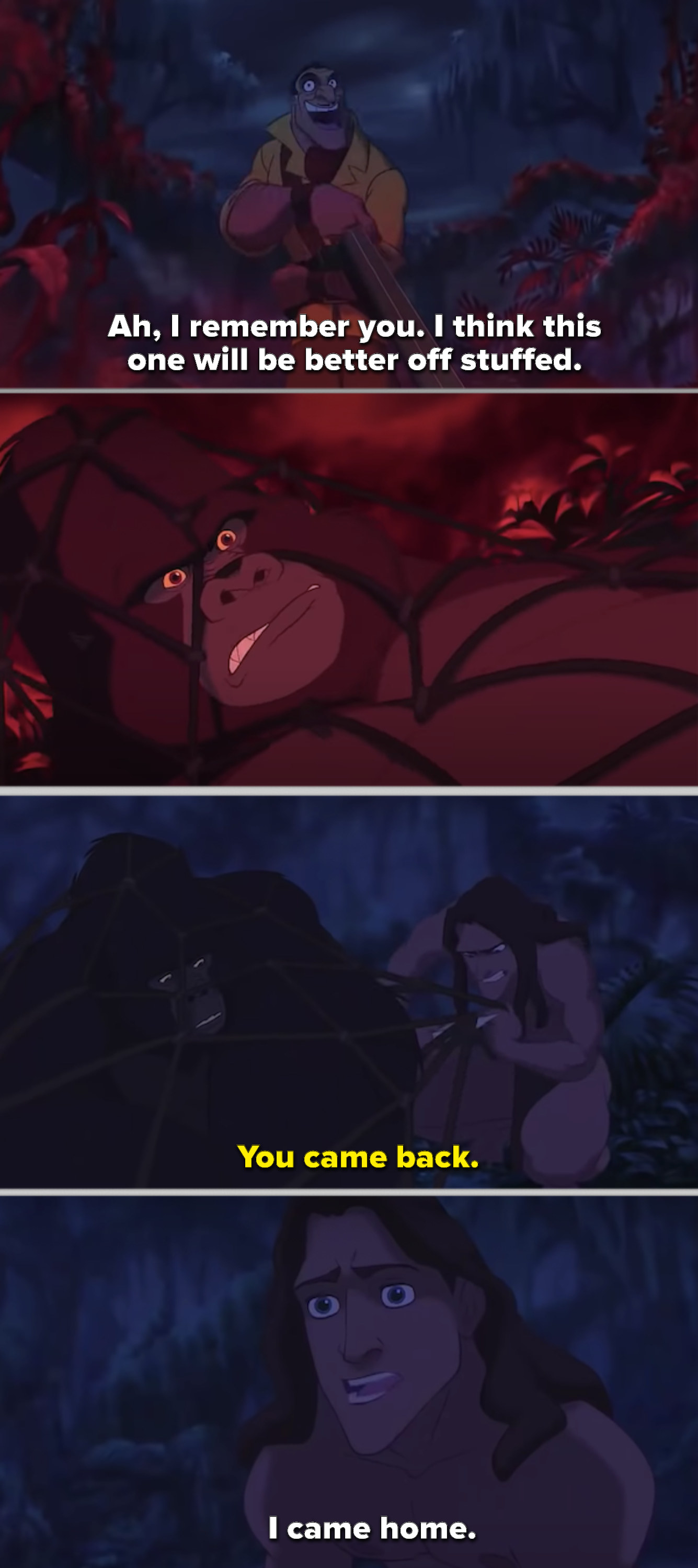 Tarzan trying to free Kerchak from a rope trap