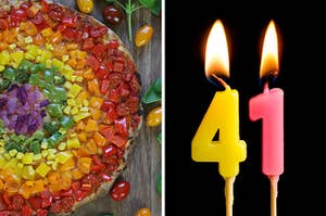 On the left, a pizza filled with veggies all the way around so it looks like a rainbow, and on the right, two lit candles that are the numbers 4 and 1
