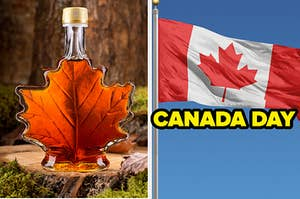 On the left, a bottle of maple syrup in the shape of a maple leaf sits on a tree stump. On the right, a Canadian flag flies in the breeze with the words CANADA DAY across the image in yellow letters.