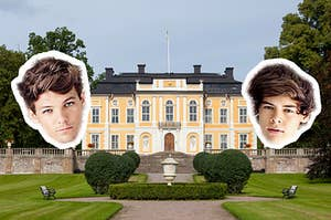 Louis and Harry's heads floating around a large mansion