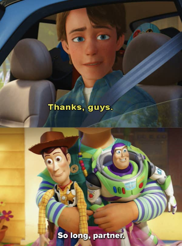 1. It is okay to grow out of your past and pass on happiness. Andy in Toy Story 3 shows this by giving all his childhood toys to Bonnie.