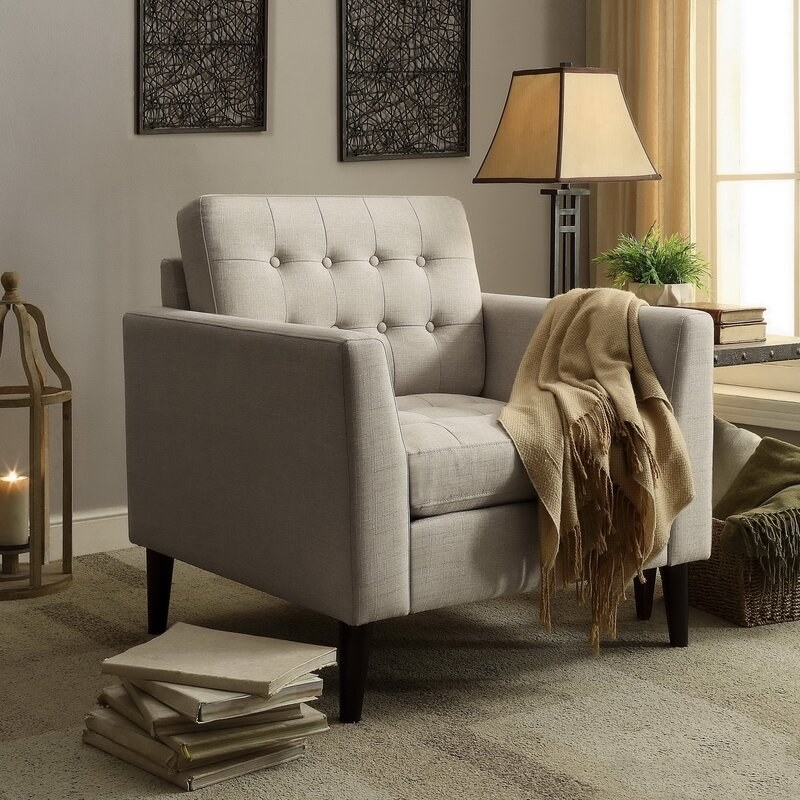 The chair in beige linen