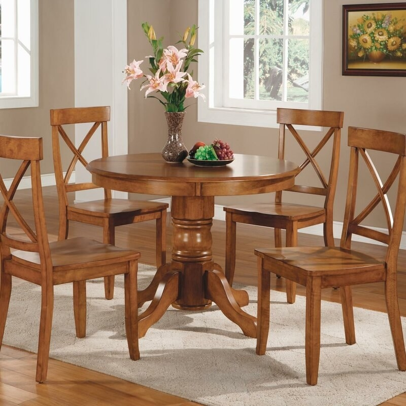 The dining set in cottage oak