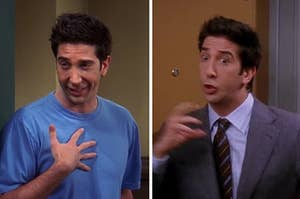 Ross Geller from Friends looking upset and surprised