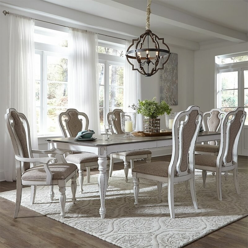 The dining set in gray wash finish