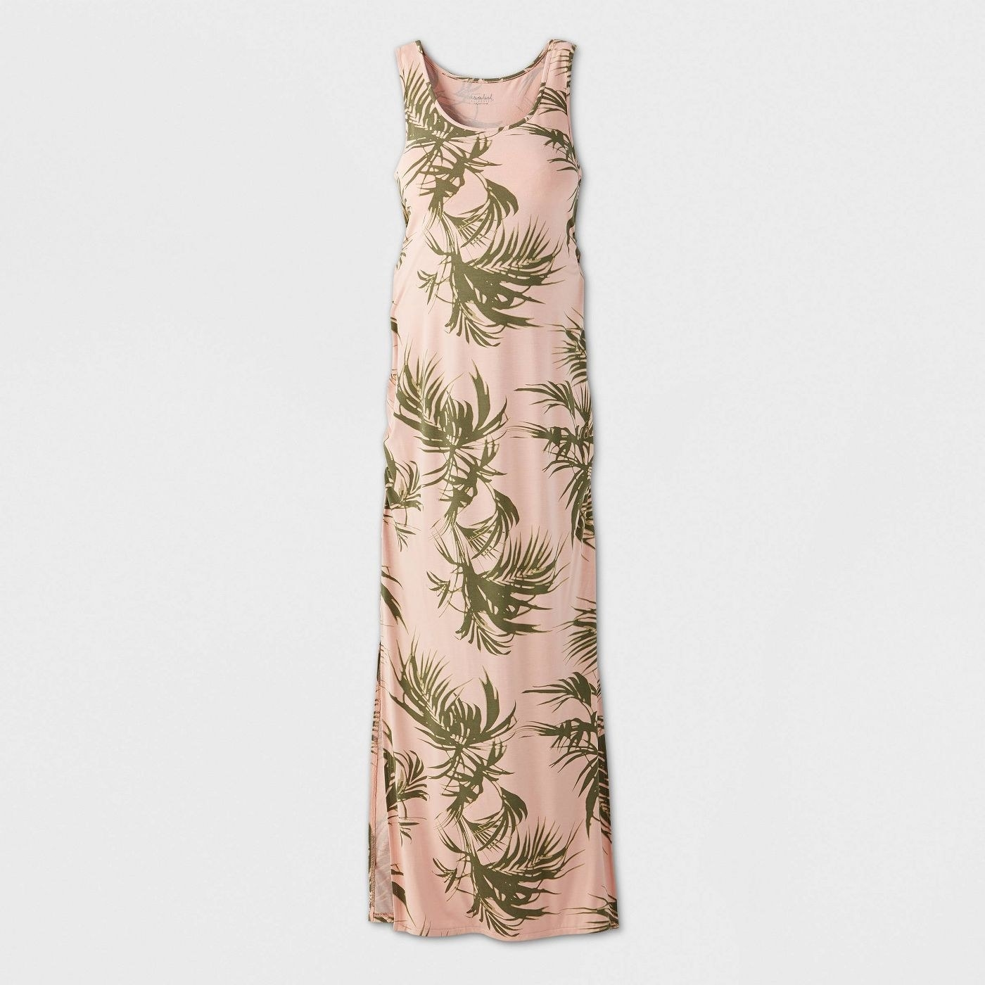 A sleeveless pink dress with green palm tree leaf patterns