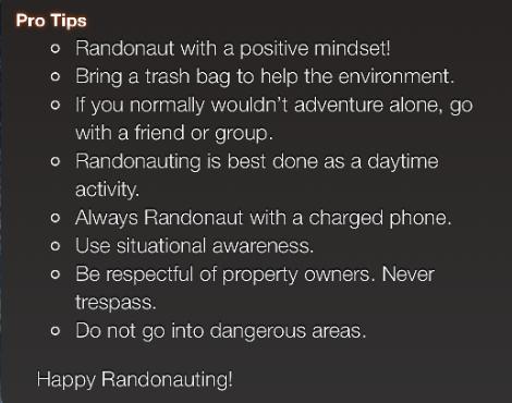 Randonautica pro tips list.