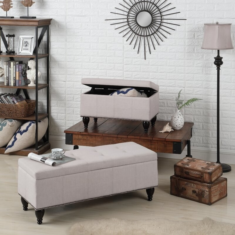 The bench in light beige