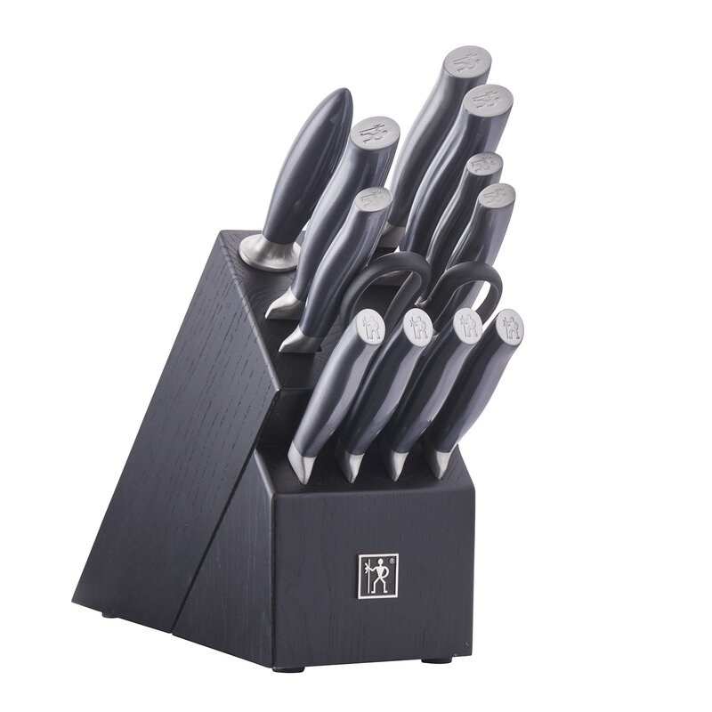The knife black set in black and stainless steel