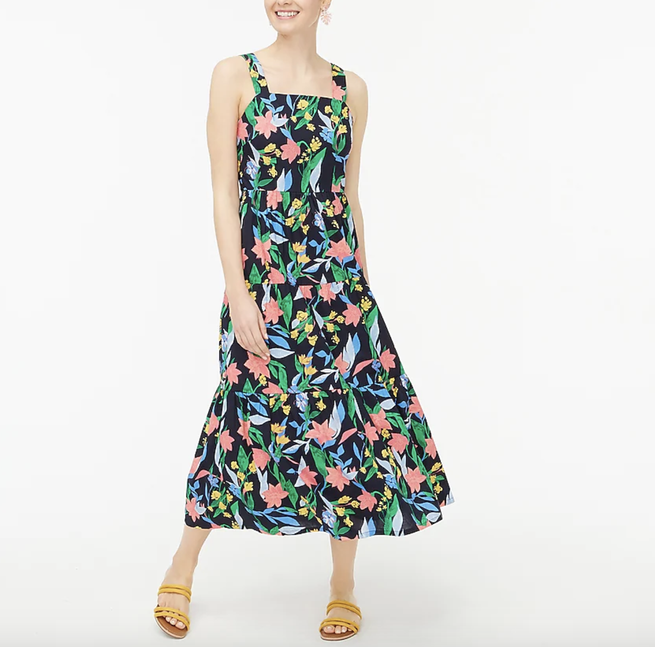 the dress, which is black with a floral pattern
