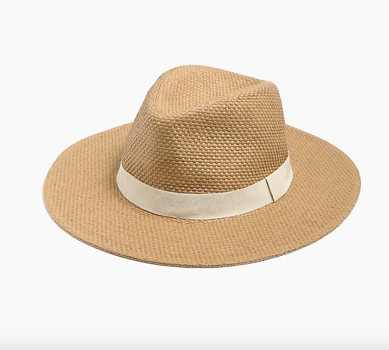 the straw sun hat, which has a light beige colored band