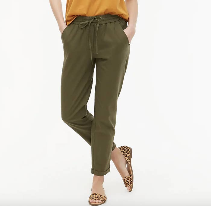 the pants in olive green