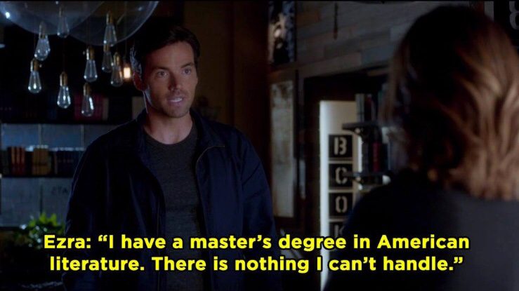 Ezra says he has a master's degree in American literature
