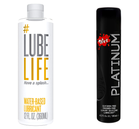 bottles of Lube Life water-based lube and Wet Platinum silicone-based lube