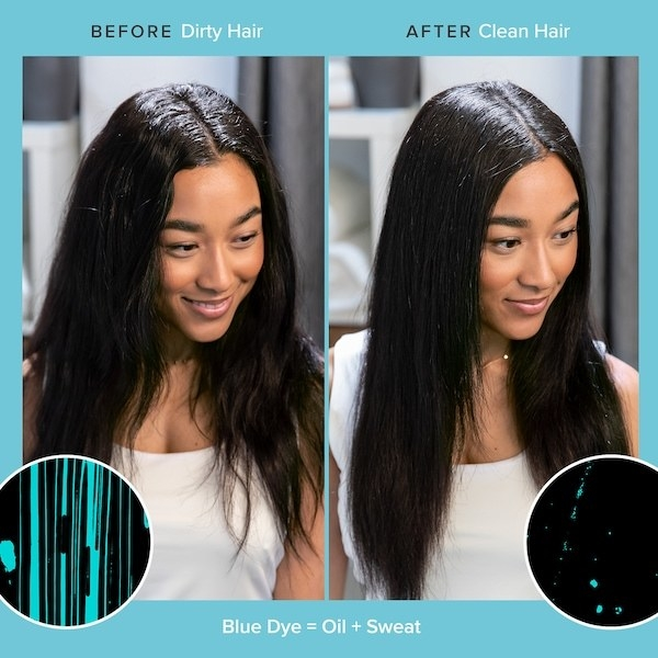 Before photo of model with dirty hair and after photo of model with sleek, oil- and sweat-free hair