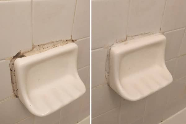 (Left) A photo of mold on a shower well (Right) The same shower wall with the mold cleaned away