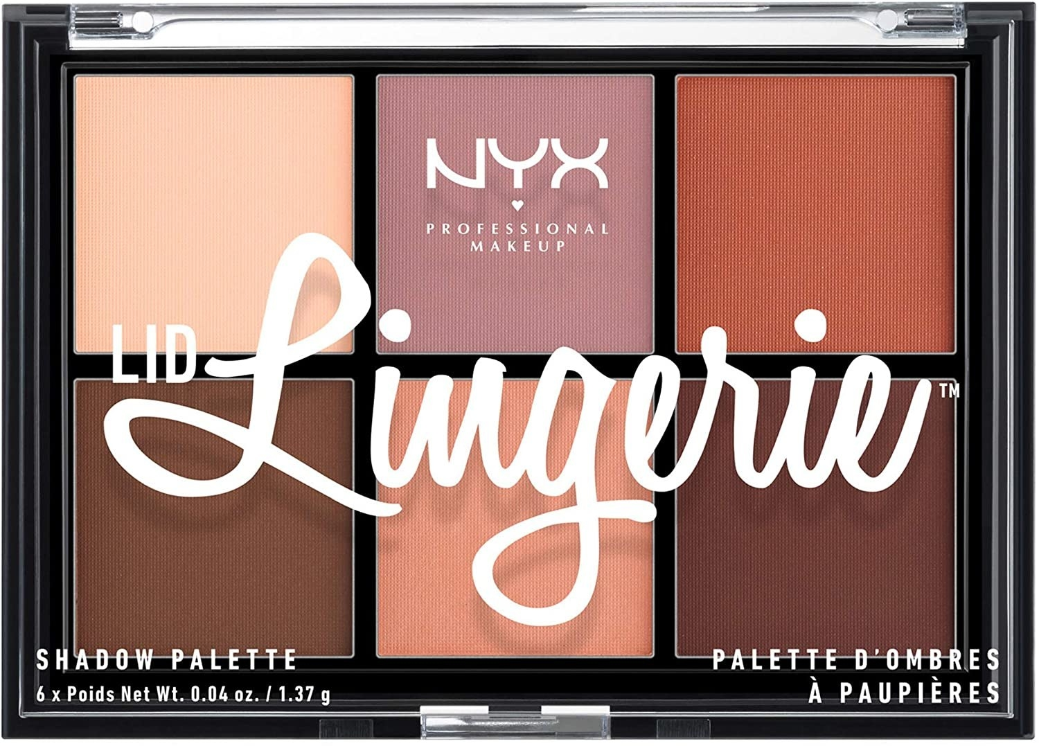 An eyeshadow palette with six colours