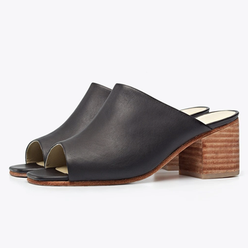 peep toe mules with wooden heel and black leather top