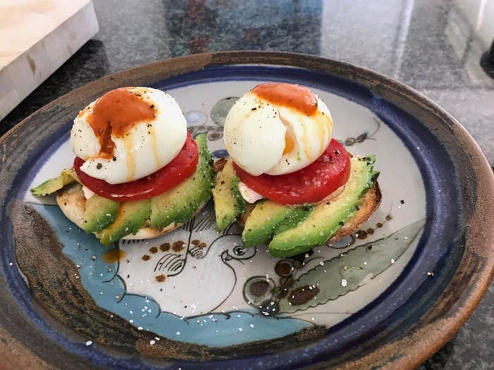 Reviewer photo of poached eggs on an English muffin