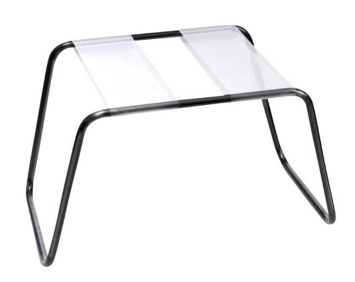 steel wire frame stool with two clear panels across seat with space in the middle
