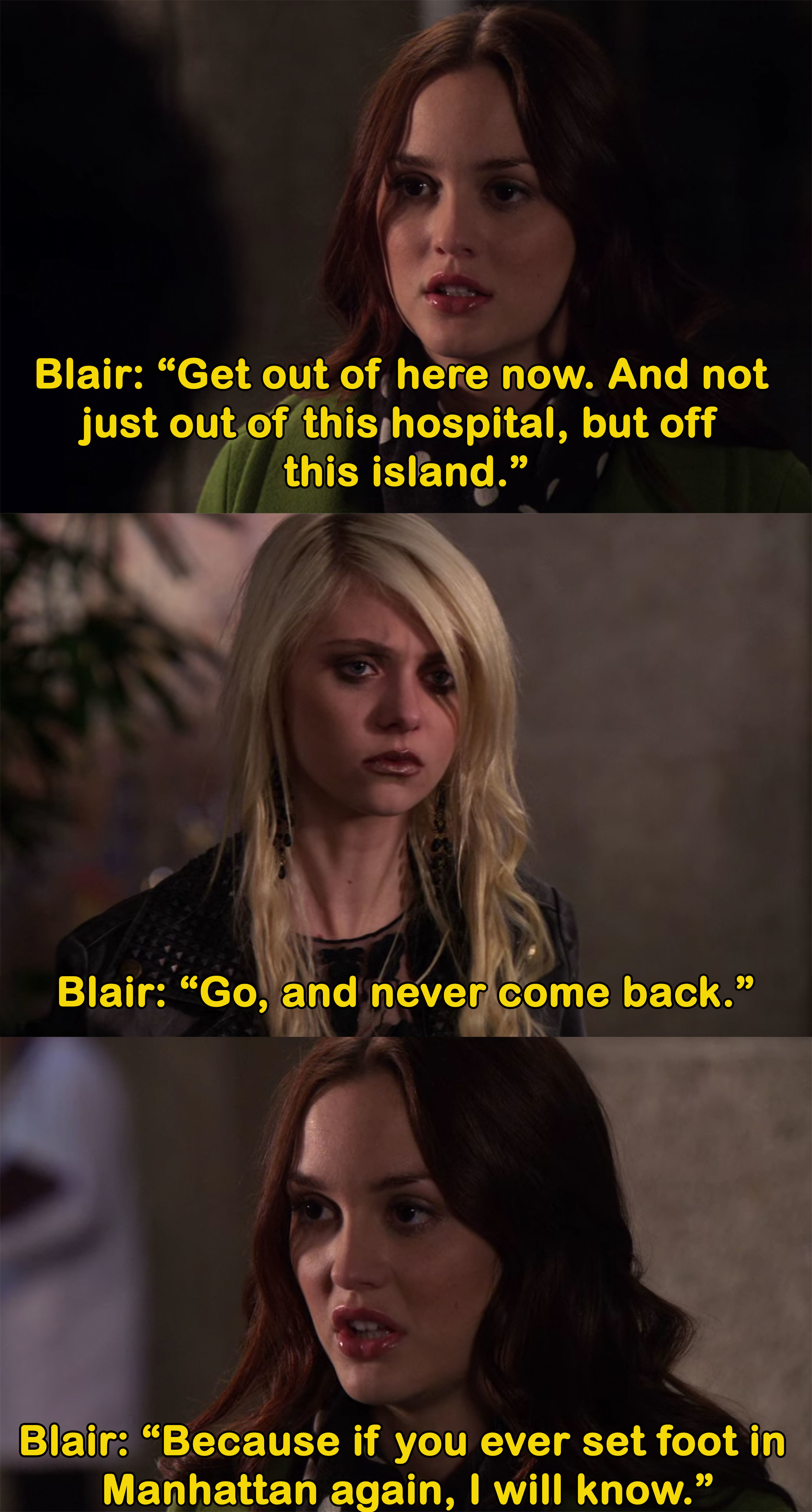 Blair tells Jenny to leave and never come back