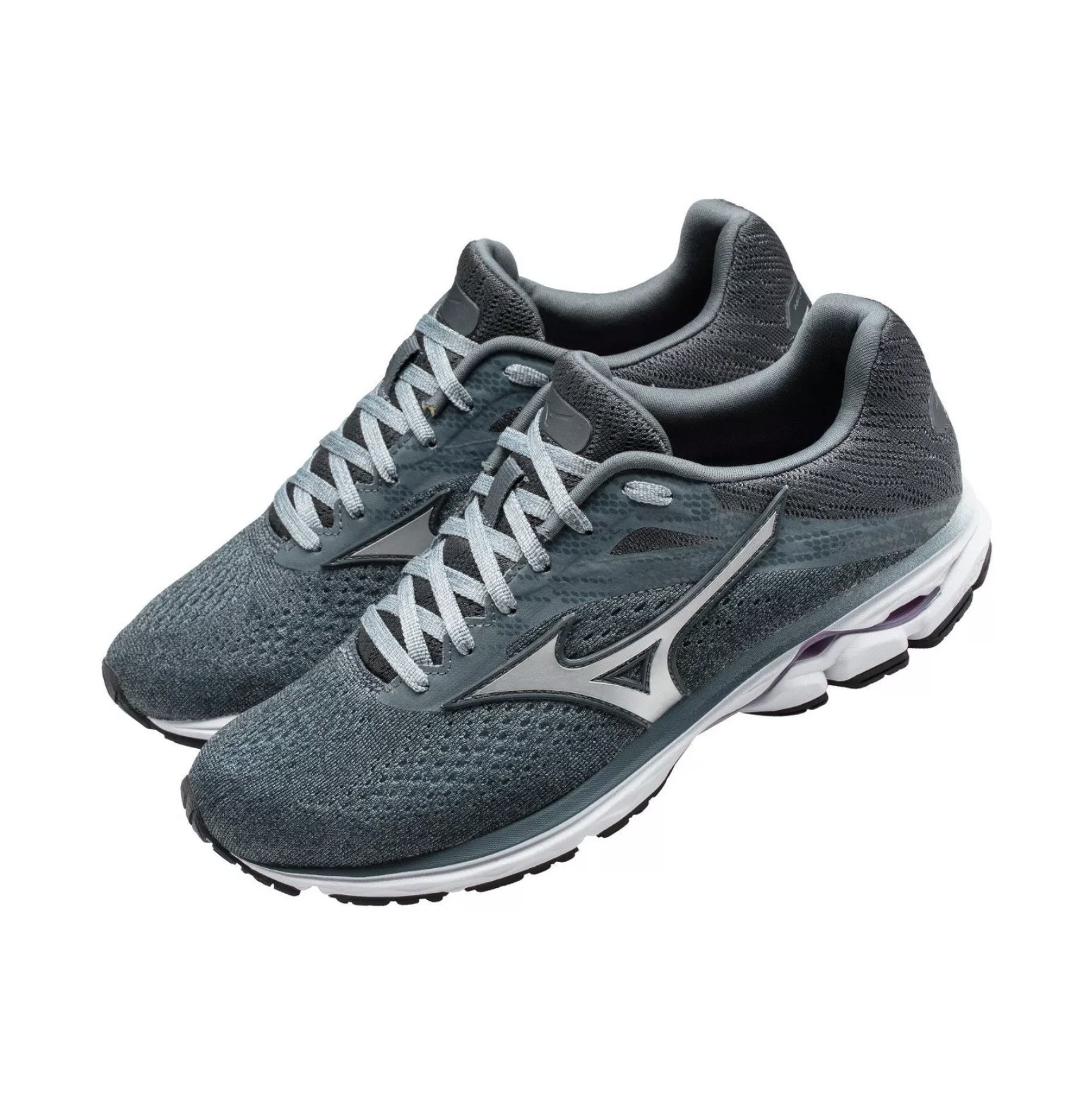 A pair of dark grey sneakers with white and solver accents