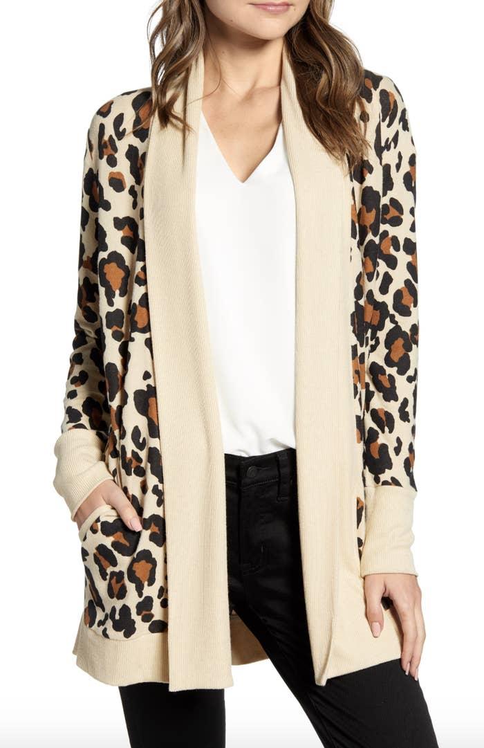 model wearing leopard print cardigan