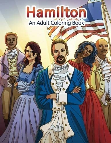 A coloring book with Hamilton characters on the front