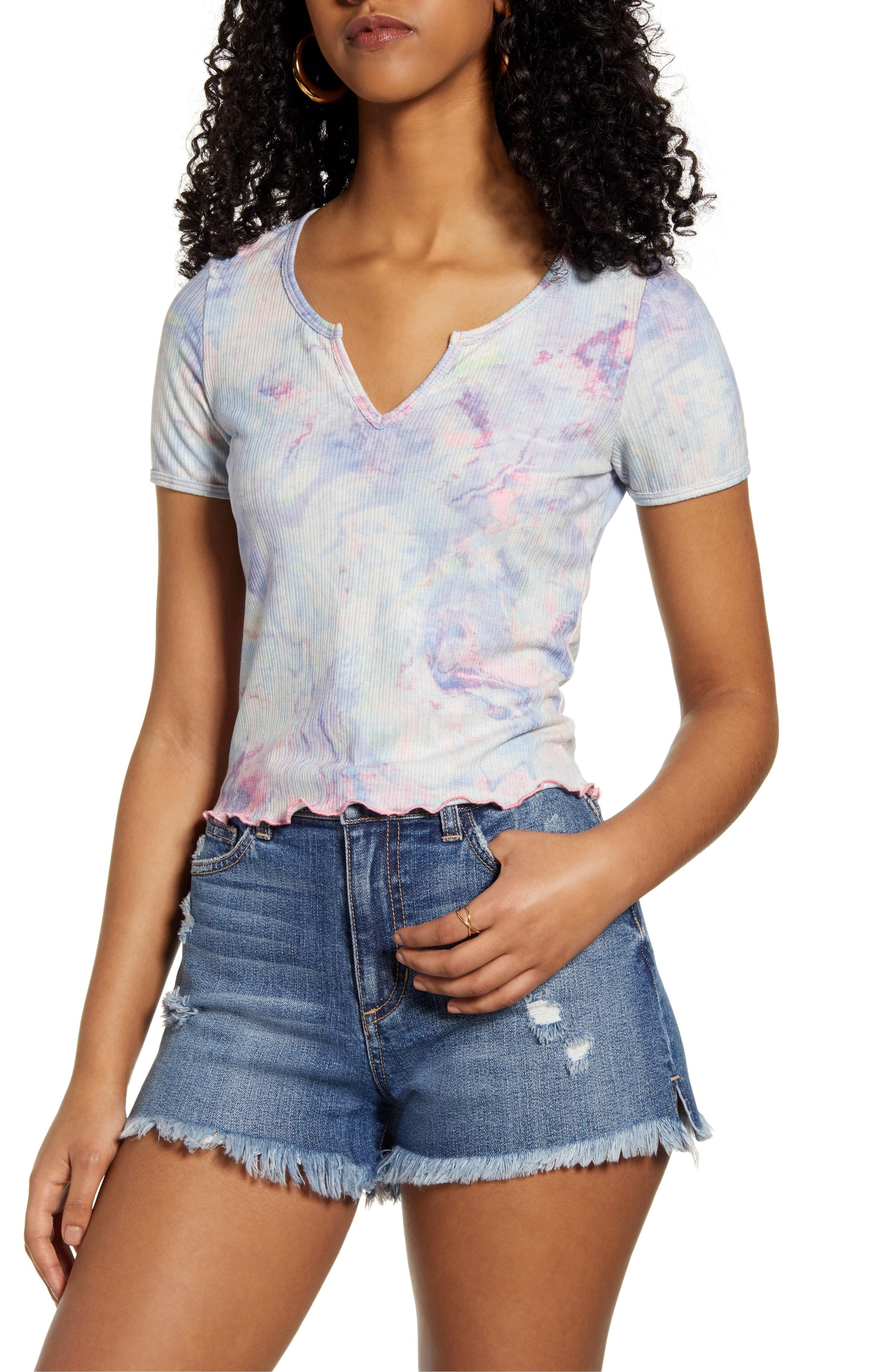 model wearing tie dye tee