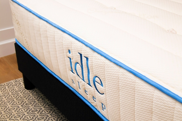 Idle Sleep branded mattress up close with blue trim