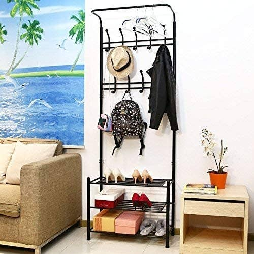 A shelf with a hat, a bag, and shoes on it