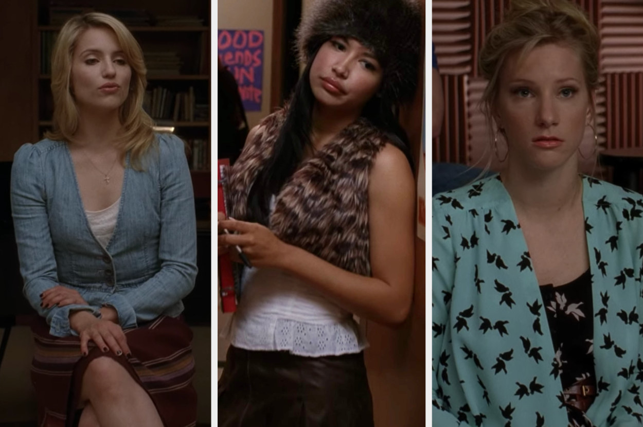 Quinn, Santana, and Britney dressed in casual clothes