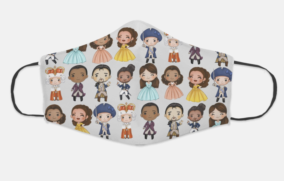 A face mask with cartoon Hamilton characters on it