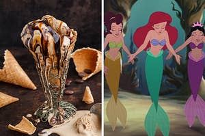 "On the left, an ice cream sundae with coffee ice cream and chocolate and caramel sauces with waffle cones in the background, and on the right Ariel and her sister close their eyes and stretch out their hands in ""The Little Mermaid"""