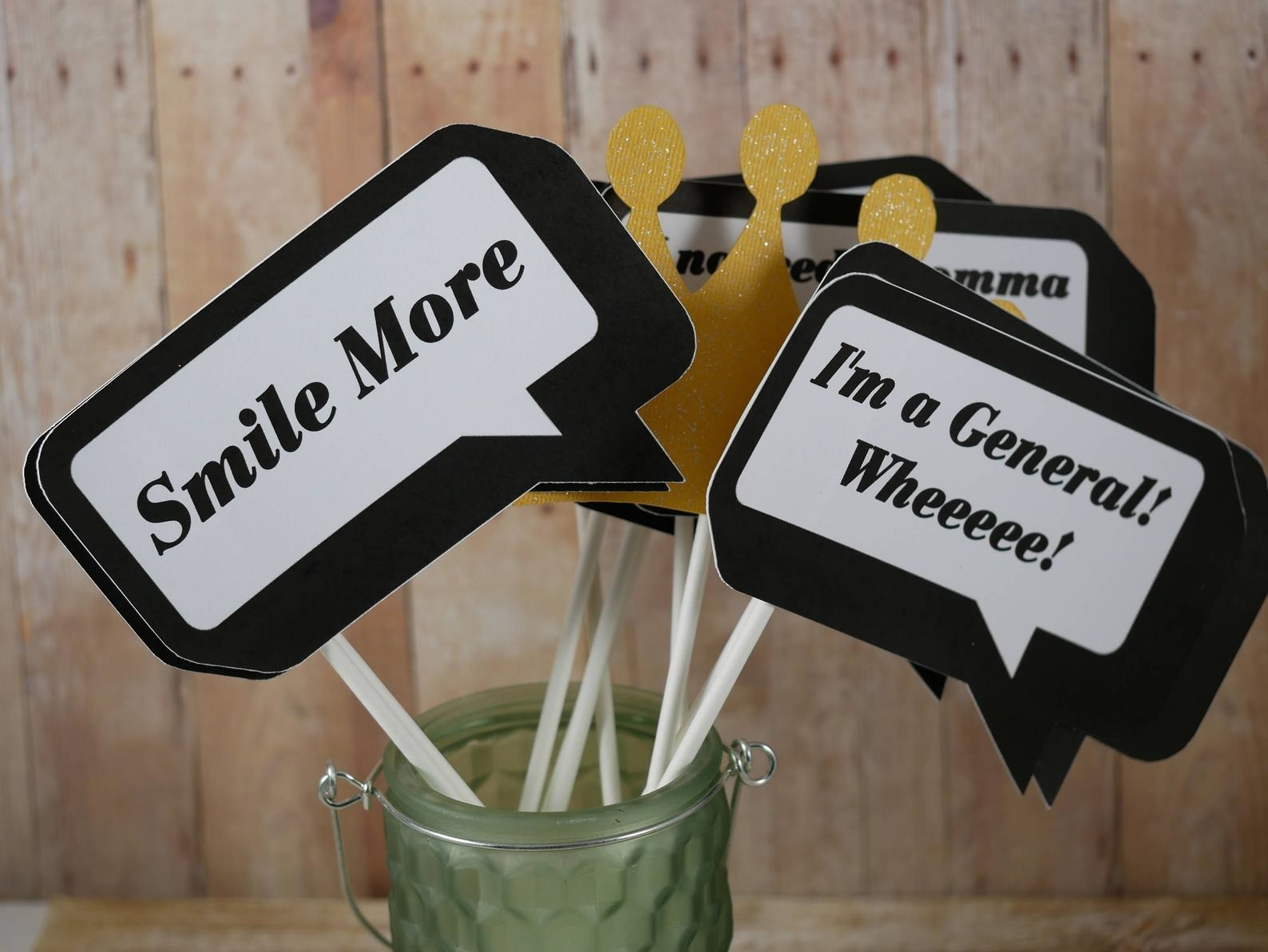 """Quote bubbles that say """"Smile More"""" and """"I'm a General! Wheeee!"""" with sticks on the end of them to pose with"""