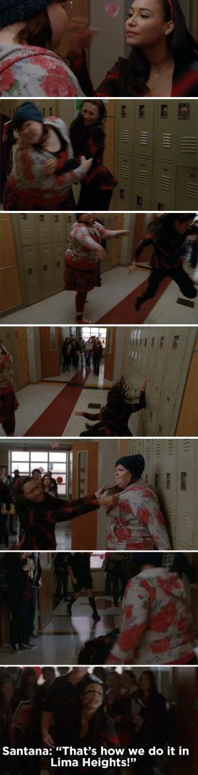 Lauren and Santana fight in the school hallway