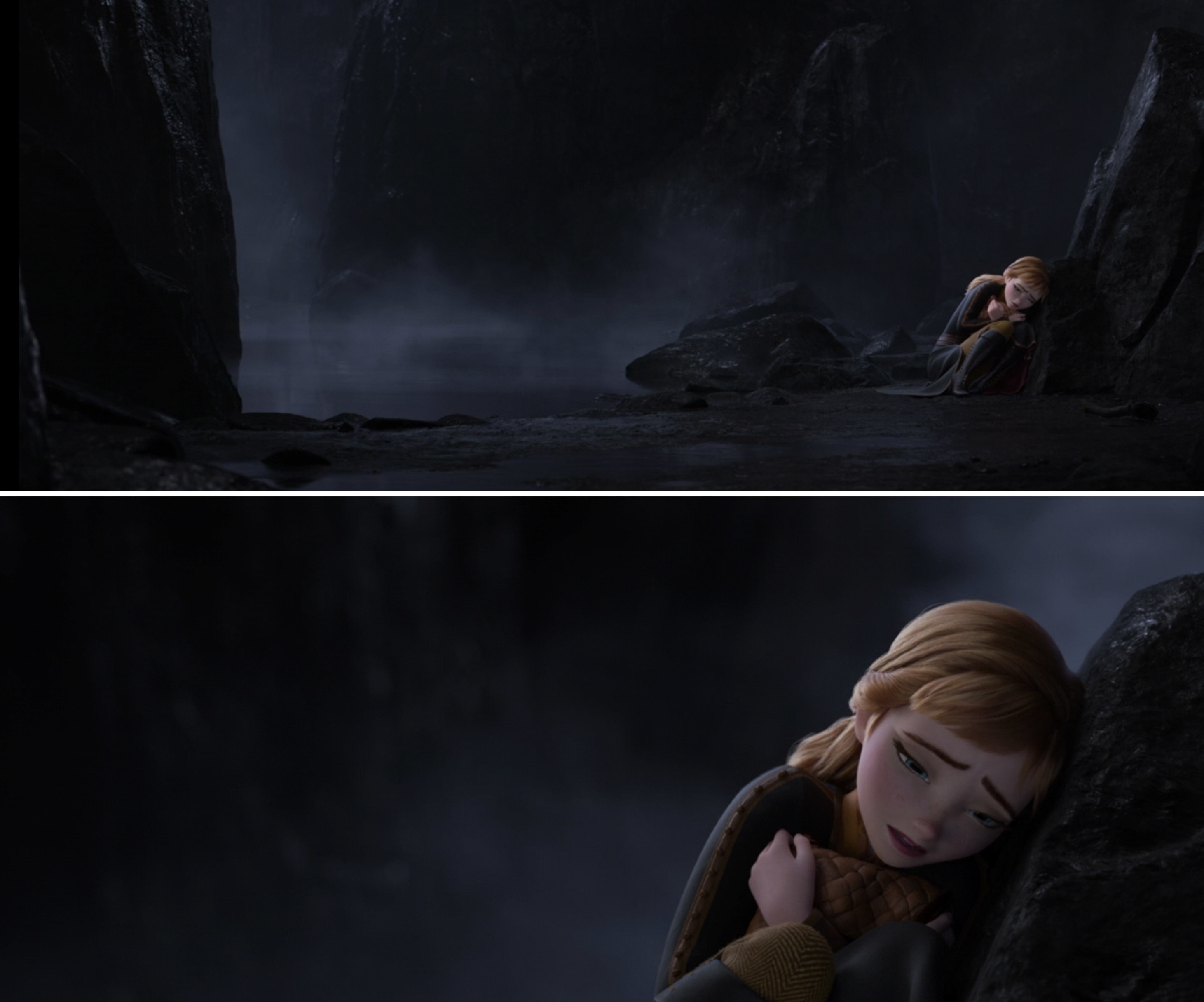 Anna leaning against a rock in the dark in Frozen 2