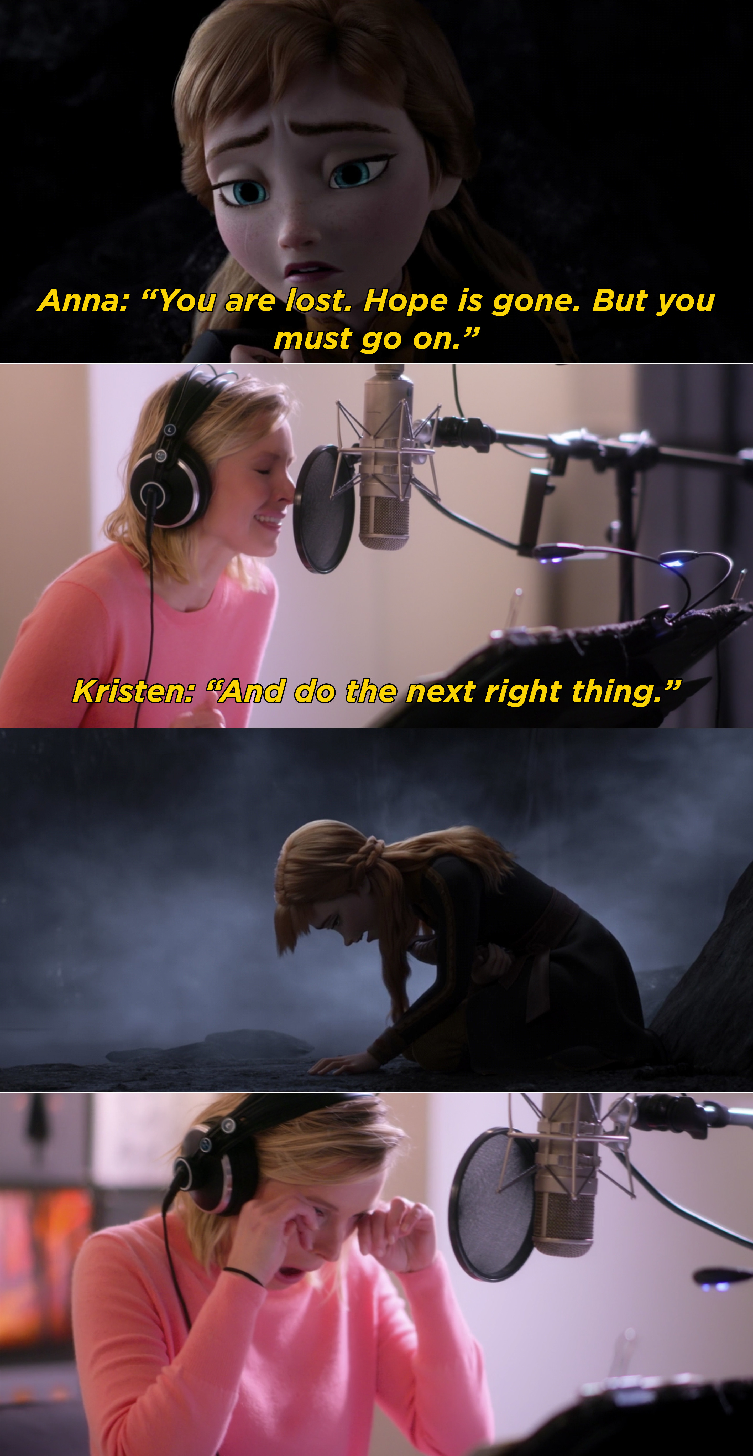 "Kristen Bell recording ""The Next Right Thing"""
